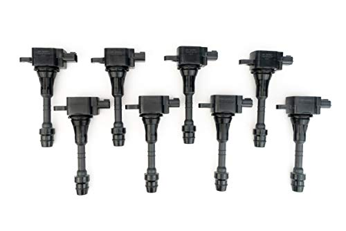 Ignition Coil Pack Set of 8 - Fits Nissan Armada, Titan, Pathfinder Armada and Infiniti QX56 5.6L - Year Models 2004, 2005, 2006, 2007 - Replaces E1010, C1483, 22448-7S015, UF510 - Part Numbers Nissan Oem