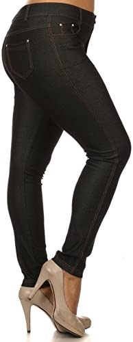 Leggings con 5 bolsillos, mezcla de algodón, para mujeres de talla grande