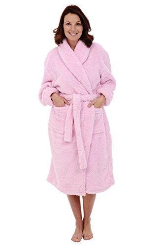Del Rossa Womens Fleece Robe, Plush Microfiber Bathrobe, Small Medium Pink (A0302PNKMD)