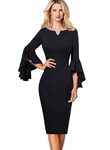 VFSHOW Womens Ruffle Bell Sleeves Business Cocktail Party Sheath Dress 1701 BLK XS