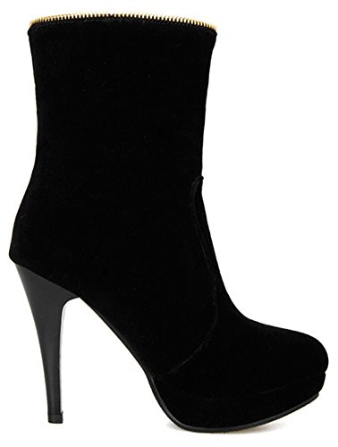 Faux Stiletto Women's Ankle Black High Toe Boots Easemax Fringe Round Zip Heeled Suede Platform Up xpdESn