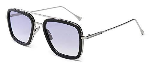 LHKQ Gafas de sol Retro Iron Man Gafas de sol con montura metálica cuadrada Gafas Tony Stark Aptas para hombres y mujeres
