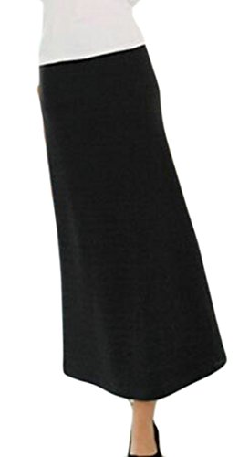 Alion Womens Elegant High Waist Knit SlimFit Fleece Lined Bodycon Maxi Skirt free shipping