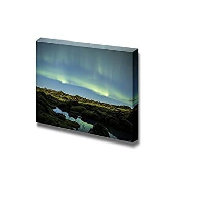 Canvas Prints Wall Art - Beautiful Scenery/Landscape Northern Lights Above Iceland | Modern Wall Decor/Home Decoration Stretched Gallery Canvas Wrap Giclee Print & Ready to Hang - 16