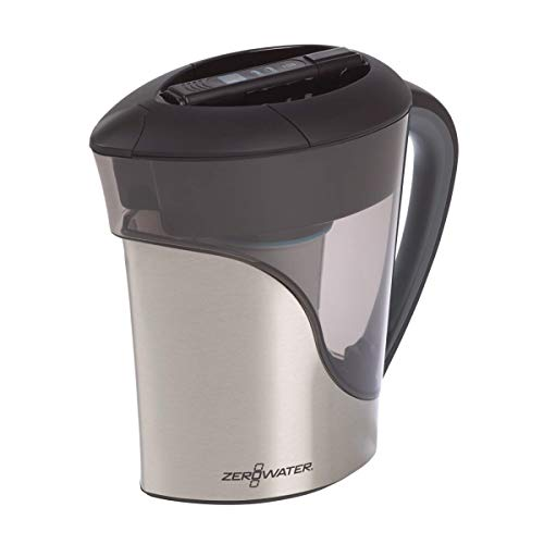 ZeroWater 11 Cup Pitcher in Stainless Steel with Free Water Quality Meter, BPA-Free, NSF Certified to Reduce Lead and Other Heavy Metals; ZS-011RP