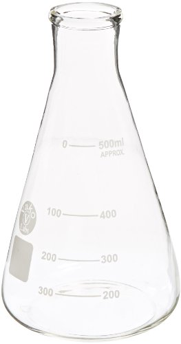 Ajax Scientific Erlenmeyer Narrow Mouth Flask with Graduated and Marking Spot, 500mL