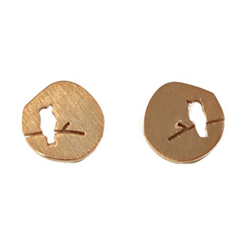 Dainty Bird Earrings for Women Bird on Branch Studs Minimalist Nature Jewelry - Multiple Colors (Rose Gold)