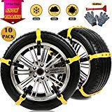Snow Chains 10 Pcs Anti Slip Tire Chains Adjustable Emergency Traction Security Car Tire Snow Chains Fit for Most Car SUV Truck