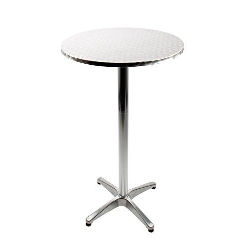 Vanage Stehtisch Bistrotisch in silber - der Bartisch ist höhenverstellbar - Aluminiumtisch gut geeignet als Beistelltisch oder Partytisch im Garten