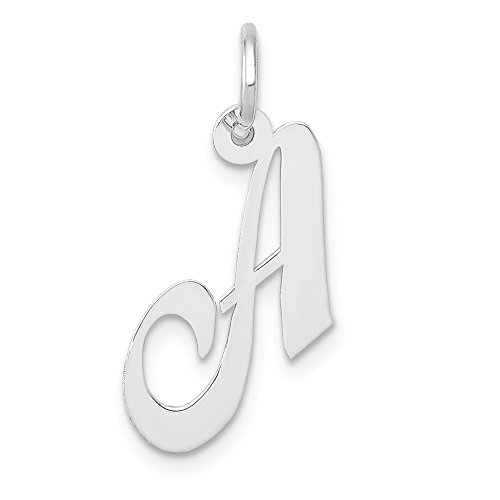 (14k White Gold Small Script Initial Monogram Name Letter A Pendant Charm Necklace Fine Jewelry Gifts For Women For Her)