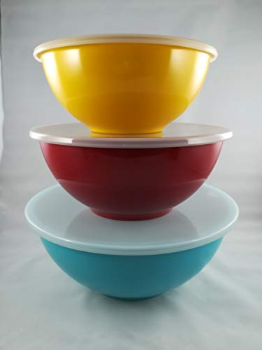 (Food Network 3-piece Nesting Melamine Mixing Bowl Set with Lids)