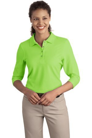 Port Authority Women's Silk Touch 3/4, Sleeve Sport Shirt, lime, X-Large