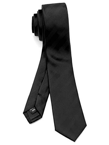 WANDM Men's Slim Skinny Tie Necktie Width 2 inches Washable Stripe Shadow Black