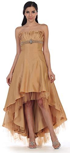 Abiballkleid Gold große Brautjungfernkleid hinten Hochzeitsgast vorne lang Größen Vokuhila Kleid Abendkleid kurz SIwzP