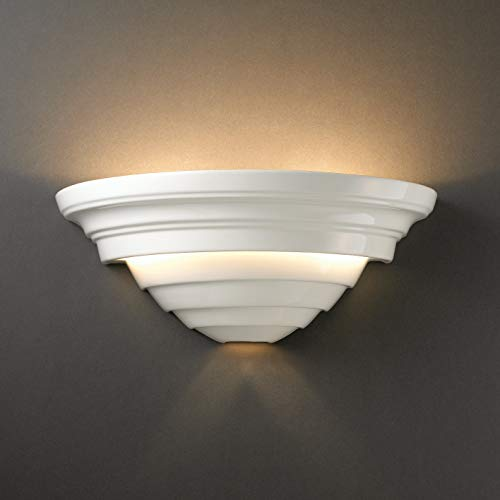 Wht Gloss White Ceramic - Justice Design Group Ambiance Collection 2-Light Fluorescent Wall Sconce - Gloss White Finish