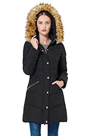 Orolay Women's Thickened Down Jacket Puffer Coat with Hood - Black - XX-Large