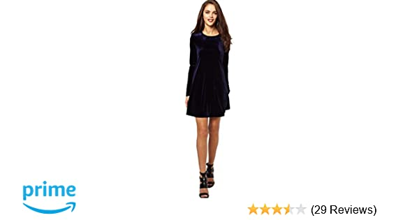 55f3838c Eyekepper Women's A-Line Loose Crewneck Long Sleeve Velvet Dress at ...