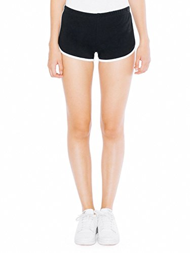 American Apparel Women's Interlock Running Short, Black/White, Large