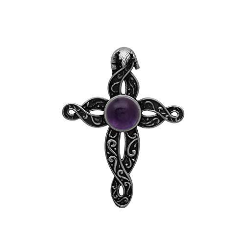 925 Sterling Silver Round Amethyst Gemstone Jesus Christ Crucifix Cross Religious Oxidized Pendant