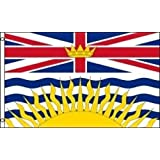 BRITISH COLUMBIA BC PROVINCIAL 3 X 5 FEET LARGE FLAG BANNER ... (92 CM X 152 CM) CANADIAN PROVINCE .. NEW