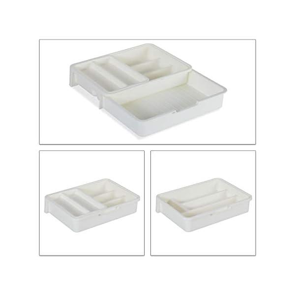 31Gv3jcMmdL Relaxdays Besteckkasten, ausziehbar, 7 Fächer, für Besteck & Küchenutensilien, Kunststoff, HBT 6x23,5x31,5 cm, weiß