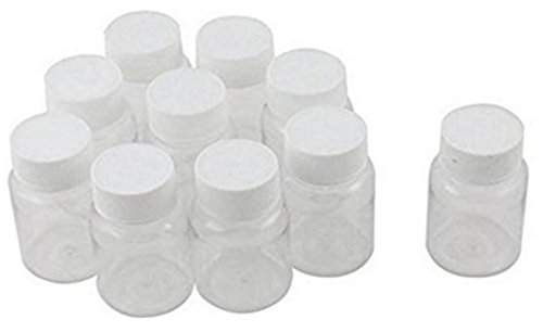 12PCS 30ml 1oz Empty Potable Plastic Clear Medicine Powder Chemical Container Bottles Pill Tablet Holder for Solid Liquid Sample Water Storage Case Box