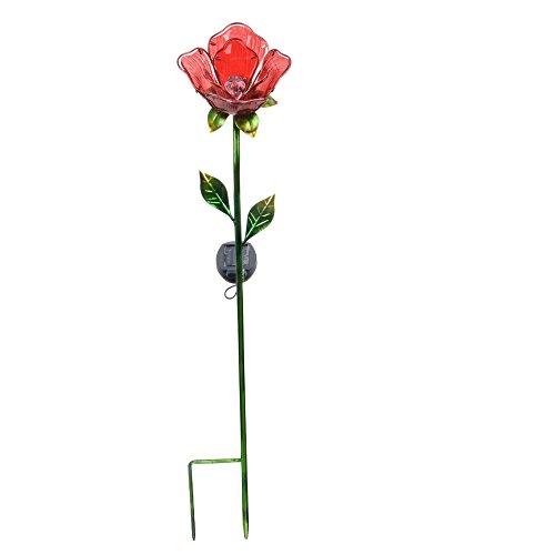- Peaktop 3403282A Outdoor Solar Rose Garden Metal Stake, Red