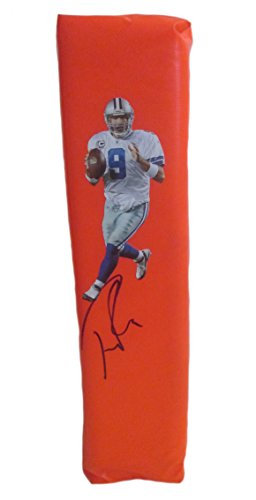 (Dallas Cowboys Tony Romo Autographed Hand Signed Photo Full Size Football Touchdown End Zone Pylon with Proof Photo of Signing and COA)
