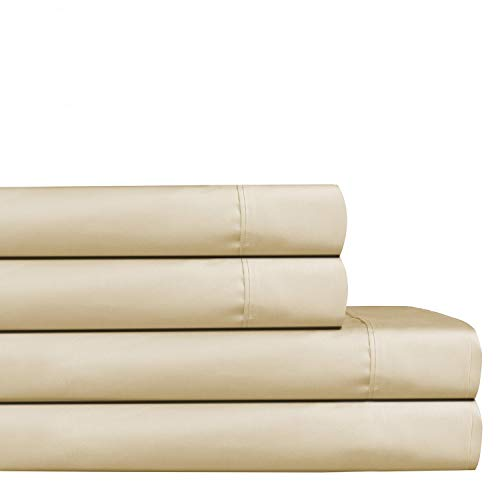Audley Home 400Thread Count 100% Long Staple Cotton Sheet Set, Luxury Bedding, Smooth Sateen Weave,Sand (King, Beige)