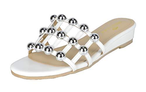 (DREAM PAIRS Women's Formosa_5 White Low Platform Wedges Slides Sandals Size 8 B(M) US)