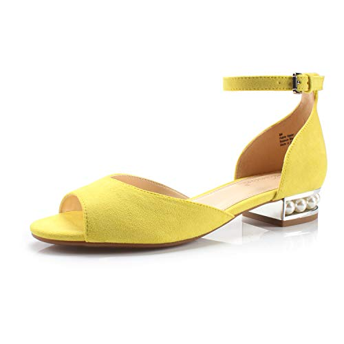 DUNION Women's Alina Pearl Embellished Low Block Heel Sandal Wedding Office Party Dress Shoes,Lemon Fabric,8.5 M ()