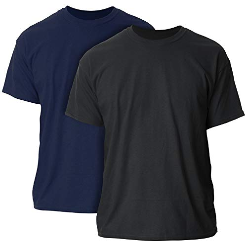 Gildan Men's Ultra Cotton Adult T-Shirt, 2-Pack Navy/Black
