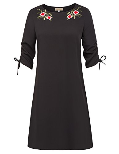 Black Dress Embroidered Shift (Women's 3/4 Sleeve Round Neck Floral Embroidered Shift Dress(M,Black))