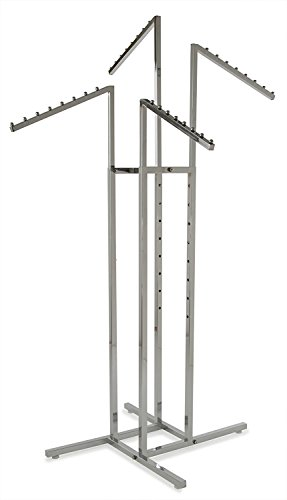 - Clothing Rack - Heavy Duty Chrome 4 Way Rack, Adjustable Arms, Square Tubing, Perfect for Clothing Store Display With 4 Slanted Arms