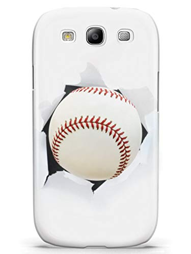Inspired Cases - 3D Textured Galaxy S3 Case - Protective Phone Cover - Rubber Bumper Cover - Case for Samsung Galaxy S3 - Baseball Bursting Through - White Case (Baseball Samsung Galaxy S3 Case)