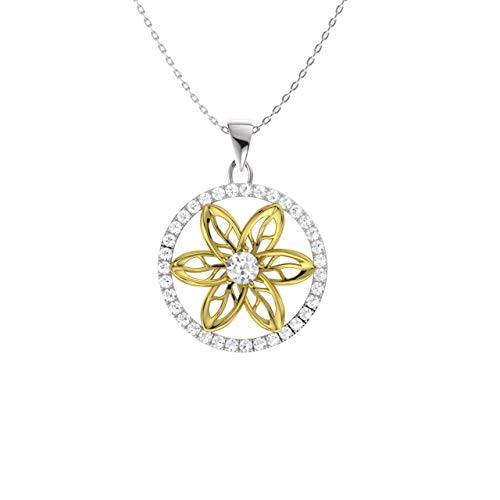 Diamondere Natural and Certified Diamond Floral Necklace in 14k Yellow and White Gold | 0.23 Carat I1-I2 Quality Pendant with ()