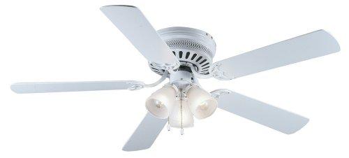 Hardware House 41-5877 Bermuda 52-Inch Flush Mount Ceiling Fan, White or Bleached Oak