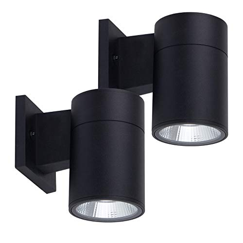 - OSTWIN (2 Pack) 1-Direction LED Outdoor Cylinder Up or Down Light, 9W (60W Equivalent), 735 Lumen, 5000K Daylight, Modern Light Fixture for Door Way, Corridor, Waterproof, Black, ETL and Energy Star