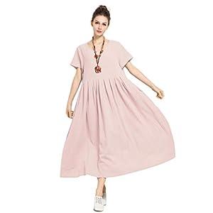 Anysize Soft Linen Cotton Loose Spring Summer Dress Plus Size Dress F122A