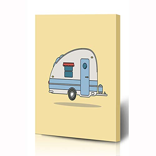 Ahawoso Canvas Prints Wall Art 8x10 Inches Drive Red Old Vintage Camping Car Caravan Rest Camper Auto Sports Recreation Retro Trailer Aloha Wooden Frame Printing Home Living Room Office Bedroom