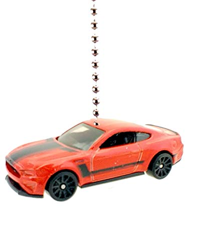 Hot Wheels Ford Mustang Shelby Diecast Car Ceiling Fan Light Pull & Ornament 1:64 (2018 Ford Mustang GT - Red)