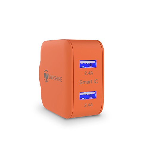 Wall Charger 24W 4.8A Wanshine Smart Dual Port USB Travel Charger with Hidden LED indicator for iPhone iPad, Samsung Galaxy, HTC Nexus Moto Blackberry(Charges Fast and Quickly) - Orange (Iphone Fire Cable 10 Feet compare prices)