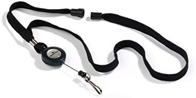 Durable 822301 Halsband mit Sicherheitsverschluss und ausziehbarem Federhaken, 10 Stück schwarz