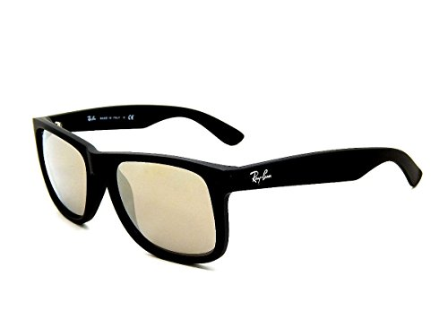 New Ray Ban Justin RB4165 622/5A Rubber Black / Light Brown Mirror Gold 51mm Sunglasses