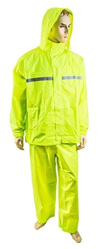 RK Premium Men's Waterproof Hooded Rain Suit, Reflective Strip (Medium, Neon (2 Piece Yellow Raincoat)