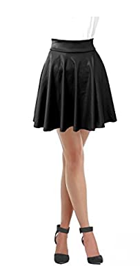 Women Faux Leather Full Circle Skater Skirt
