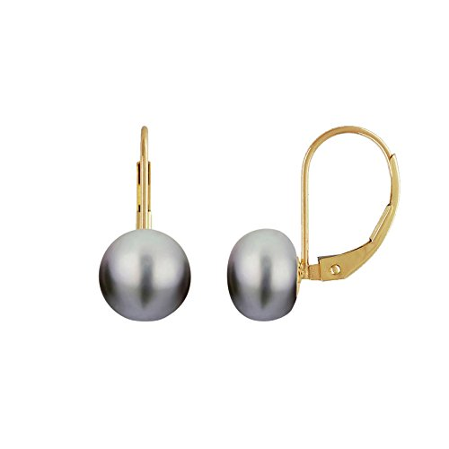 Grey Pearl Earrings Leverback Gold Plated Silver Genuine Button Freshwater Pearls Cultured 8mm - Pearl Button Grey