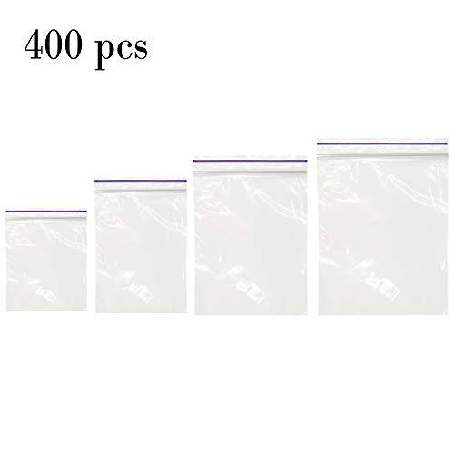 400 PCS Small Zipper Poly Bags - 2 Mil Reclosable Clear Ziplock Plastic Bags Sizes 1.3