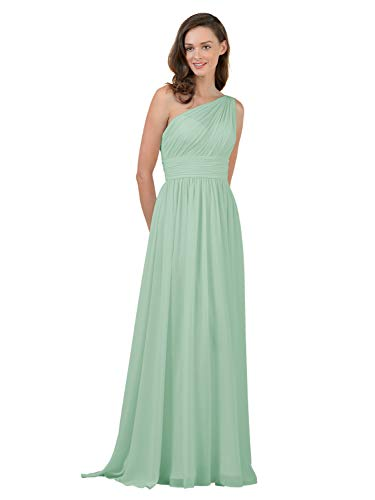 Alicepub One Shoulder Bridesmaid Dress for Women Long Evening Party Gown Maxi, Mint Green, US6