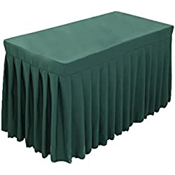 Tina 6' ft Polyester Fitted Tablecloth Table Skirt for Wedding Banquet Trade Show Dark Green